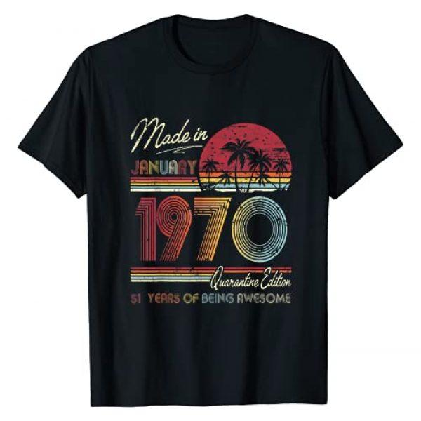 Vintage January 1970 1970 Birthday Shirt 51 Years Graphic Tshirt 1 Born January 1970 51st Quarantine Bithday Gift Made in 1970 T-Shirt