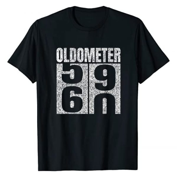 Oldometer 60th Birthday Age Vintage Cute Gift Tees Graphic Tshirt 1 60th Birthday Oldometer 59-60 Vintage Funny Gifts Men Women T-Shirt