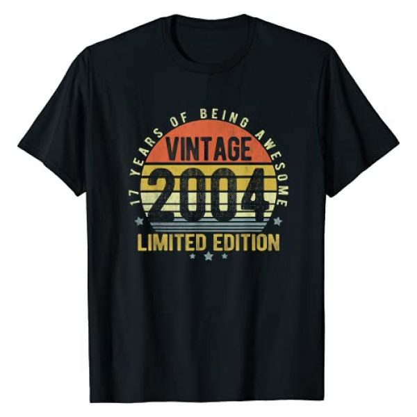 17 Yrs Old Bday Awesome Since 2004 Gifts Girl Boy Graphic Tshirt 1 17 Year Old Vintage 2004 Limited Edition 17th Birthday Gifts T-Shirt