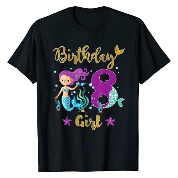 Birthday Girl Mermaid T Shirt For all Years old Graphic Tshirt 1 Birthday Mermaid T Shirt For 8 Years Old Tee Gift For Girls T-Shirt