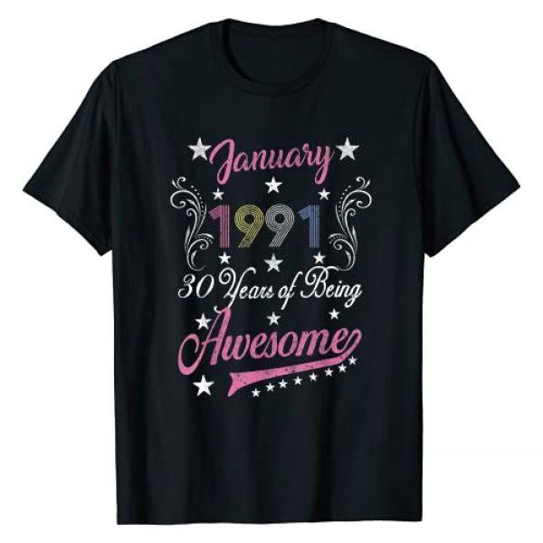 Retro 1991 30th Birthday Gift Graphic Tshirt 1 January 1991 30th Birthday Gift Retro 30 Years Old T-Shirt