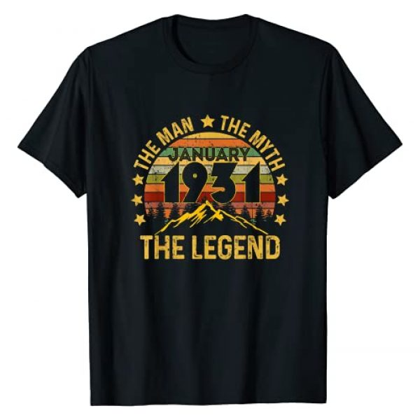 Vintage 90 Years Old Birthday Gifts Tees Graphic Tshirt 1 90 Years Old Birthday Gifts The Man Myth Legend January 1931 T-Shirt