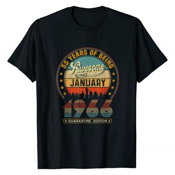 Quarantine Birthday January 2021 Gift Tees Graphic Tshirt 1 Vintage Born January 1966 55th Birthday 55 Years Old Gifts T-Shirt