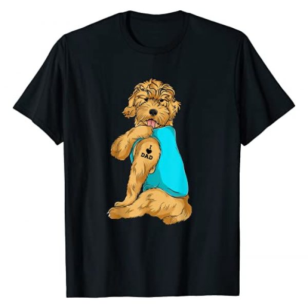 Golden Doodle Dad Shirts For Men Co. Graphic Tshirt 1 Golden Doodle I Love Dad Tattoo Apparel, Dog Dad Gifts Dads T-Shirt
