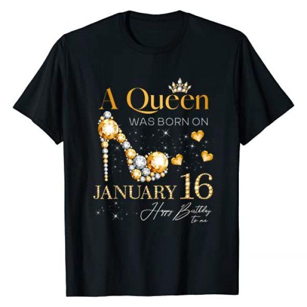 January Birthday Present Ideas Graphic Tshirt 1 A Queen Was Born on January 16, 16th January Birthday T-Shirt