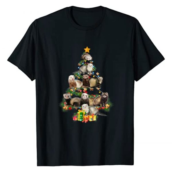 Funny Ferrets Christmas Tree Lover Tee Gift Graphic Tshirt 1 Funny Ferrets Christmas Tree Ferrets Lover Xmas Gifts T-Shirt