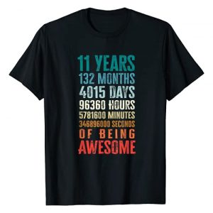 Eleven Year Old Boy Girl Birthday Outfits Graphic Tshirt 1 11 Years 132 Months Of Being Awesome 11th Birthday Gifts T-Shirt