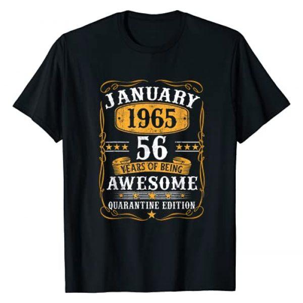 Vintage Janurary 1965 56Th Birthday Shirt 56 Yea Graphic Tshirt 1 Born January 1965 Birthday Gift Made In 1965 56 Years Old T-Shirt