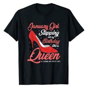 January Girl Birthday CG Graphic Tshirt 1 January Girl Stepping into my birthday like a Queen Living T-Shirt
