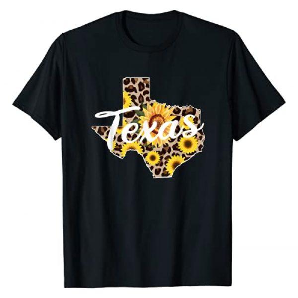 Funny Texas designs Graphic Tshirt 1 Texas Girl Sunflower Leopard Rustic Black State Pride T-Shirt