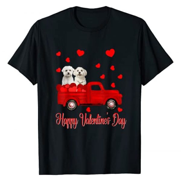 Happy Valentine's Day Matching Maltese Lover Graphic Tshirt 1 Happy Valentine's Day Funny Maltese Lover Couple Gifts T-Shirt