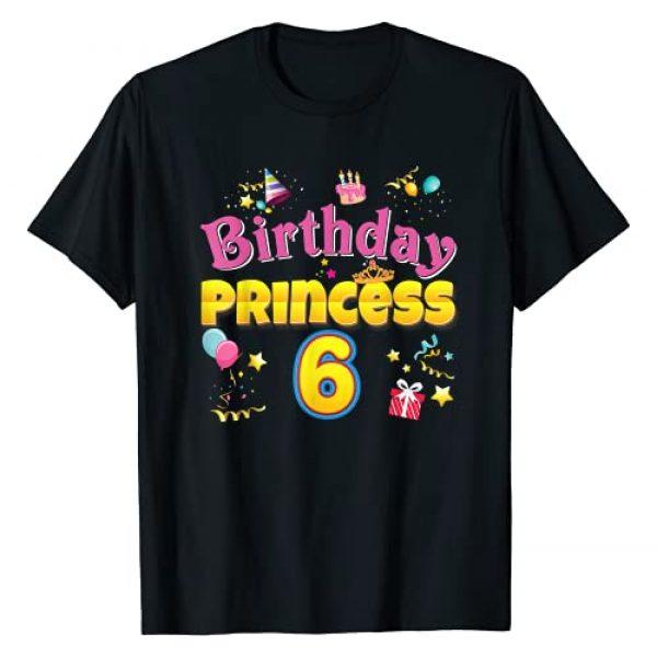 JohnS Birthday Princess T-Shirt Graphic Tshirt 1 Birthday Princess 6th Cute Crown 6 Year Old Girl Happy T-Shirt