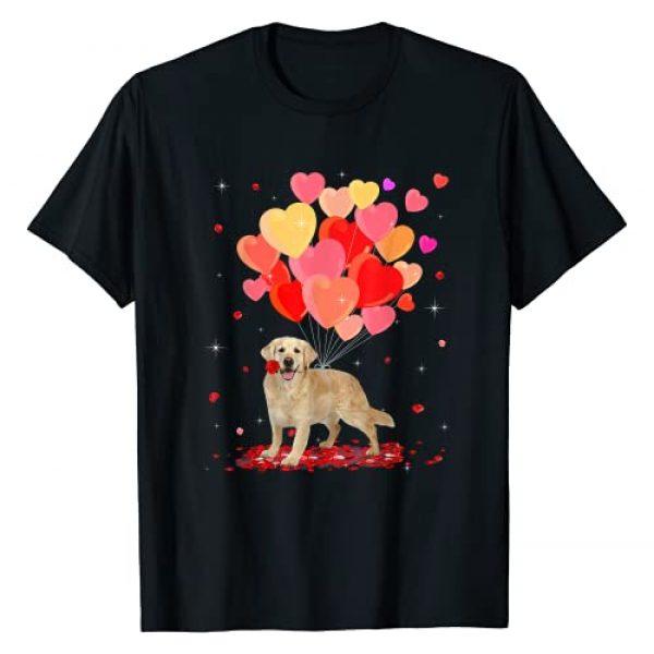 Dog Puppy Valentine's Day Clothing Graphic Tshirt 1 Golden Retriever Valentine's Day Gift Dog Heart Flowers T-Shirt