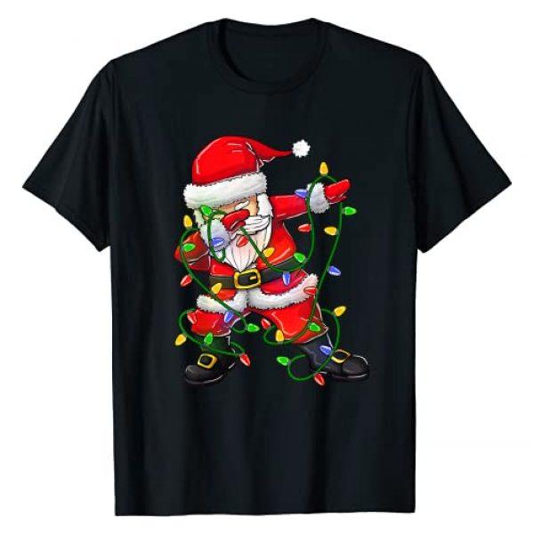 Wonderful Family Christmas Shirts - RobustCreative Graphic Tshirt 1 Dabbing Santa Shirt for Boys Girls Christmas Tree Lights T-Shirt