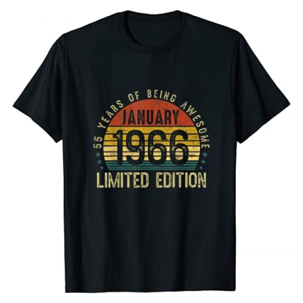 55th B-day Gifts 55 Years Old Born In January 1966 Graphic Tshirt 1 55 Years Old Born In January 1966 Outfit 55th Birthday Gifts T-Shirt