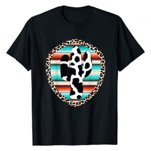 Funny Serape Cactus designs Graphic Tshirt 1 Funny Serape cow print Cactus Leopard print Turquoise T-Shirt