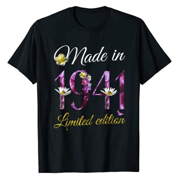 80th Birthday Vintage 1941 Gifts Tee by Alice Ron Graphic Tshirt 1 Made in 1941 Tee 80 Year Old Floral 1941 80th Birthday Gift T-Shirt