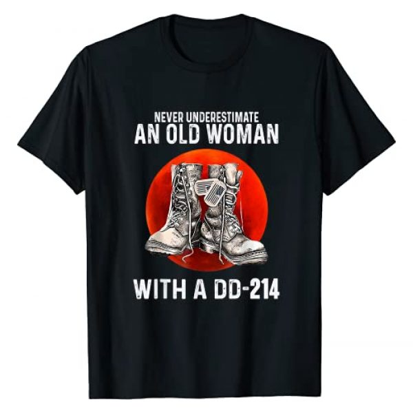 Never Underestimate An Old Woman With A DD-214 Graphic Tshirt 1 Funny Veteran T-Shirt