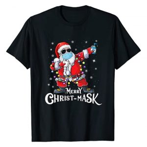 Merry Christmas 2020 Shirts Santa Claus Gifts Graphic Tshirt 1 Funny Christmas 2020 Santa Dabbing Wearing Mask Gift T-Shirt