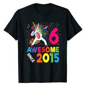 2021 Dabbing Unicorn Birthday By SSA Apparel Graphic Tshirt 1 6th Birthday Dabbing Unicorn Party Gift 6 Years Old Girl T-Shirt