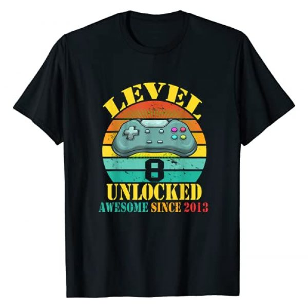 Awesome Since 2013 8th Birthday Gift Graphic Tshirt 1 Level 8 Unlocked Boys 8th Birthday 8 Year Old Gamer 2013 T-Shirt