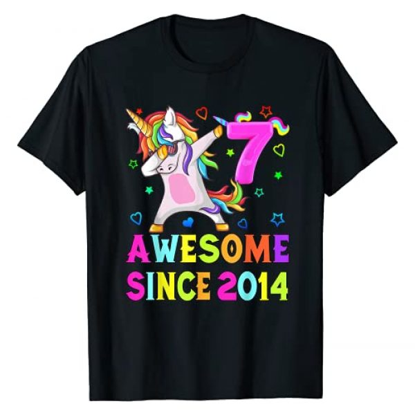 Vintage birthday For Customer - Perfect Gift Graphic Tshirt 1 Awesome since 2014, 7th Birthday, 7Yrs Old, Unicorn Dabbing T-Shirt