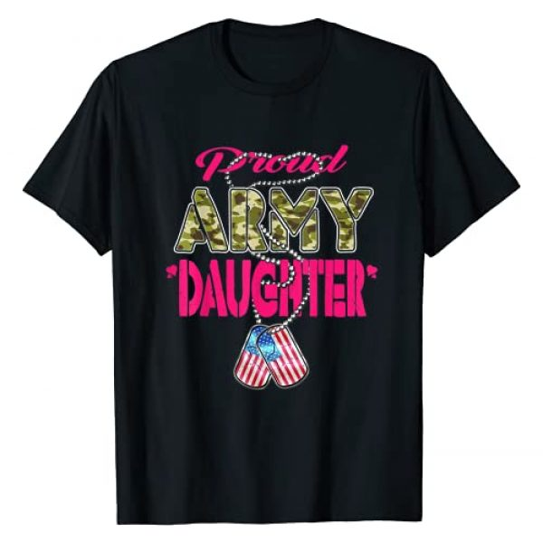Proud Cloth Military Family Shirts Graphic Tshirt 1 Proud Army Daughter Camo US Flag Dog Tag Military Child Gift T-Shirt