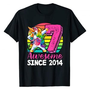 Dabbing Unicorn Birthday Apparel Graphic Tshirt 1 Awesome Since 2014 Dabbing Unicorn 7th Birthday Gift Girls T-Shirt