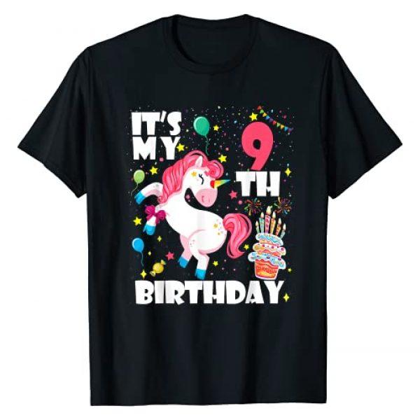 All Dabbing Unicorn Birthday 2021 Shirts Graphic Tshirt 1 9 Years Old 9th Birthday Unicorn Dabbing Shirt Girl Party T-Shirt