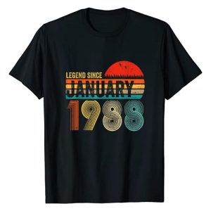 Legend Since January 1988 33Th Years Bday Gifts Graphic Tshirt 1 33 Years Old Retro Birthday Gift Legend Since January 1988 T-Shirt