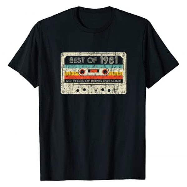 Vintage Classic Birthday Born in 1981 Gift Apparel Graphic Tshirt 1 40th Birthday Gifts Best Of 1981 Cassette Tape Retro Vintage T-Shirt