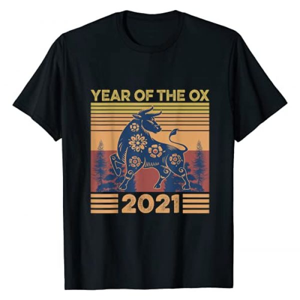 Chinese American New Year Shirt Graphic Tshirt 1 Retro Vintage Chinese New Year Zodiac Year Of the Ox 2021 T-Shirt