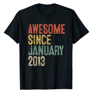 Born in January 2013 Eighth Bday 8 yrs old Gifts Graphic Tshirt 1 Awesome Since January 2013 8th Birthday Gifts 8 Year Old T-Shirt