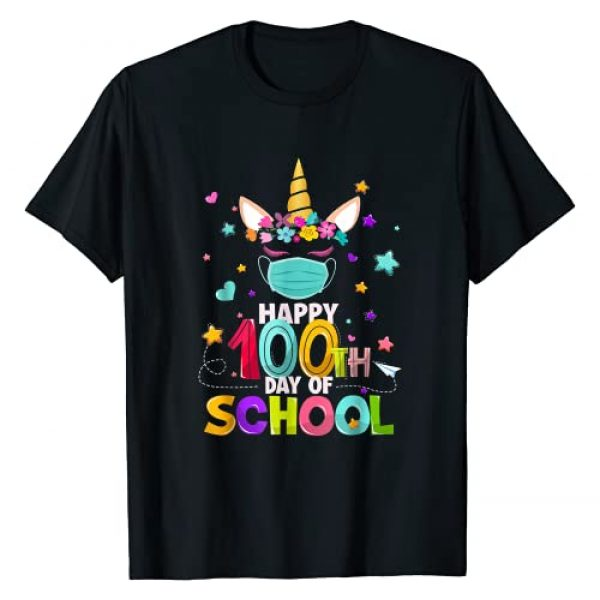 Happy 100th Day Of School Unicorn Face Mask Gifts Graphic Tshirt 1 Happy 100th Day Of School Unicorn Face Mask Virtual Teacher T-Shirt
