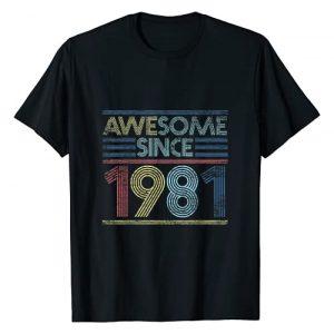 Vintage Birthday Gifts Retro Graphic Tshirt 1 Vintage 40th Birthday Gifts - Awesome Since 1981 T-Shirt