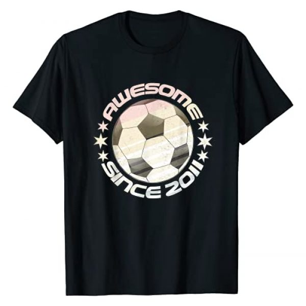 Tenth Bday Gifts For Soccer Players Ten B-Day Graphic Tshirt 1 Awesome Since 2011 10th Birthday 10 Year Old Soccer Player T-Shirt