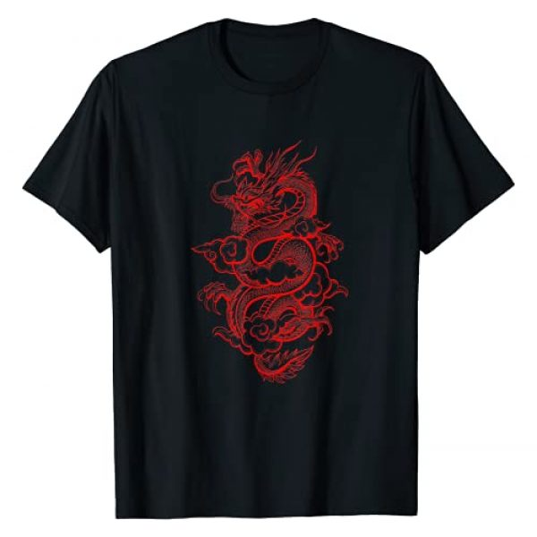 Red Chinese Dragon T-shirt Graphic Tshirt 1 Aesthetic Red Chinese Dragon Grunge Egirl Teen Girls Women T-Shirt