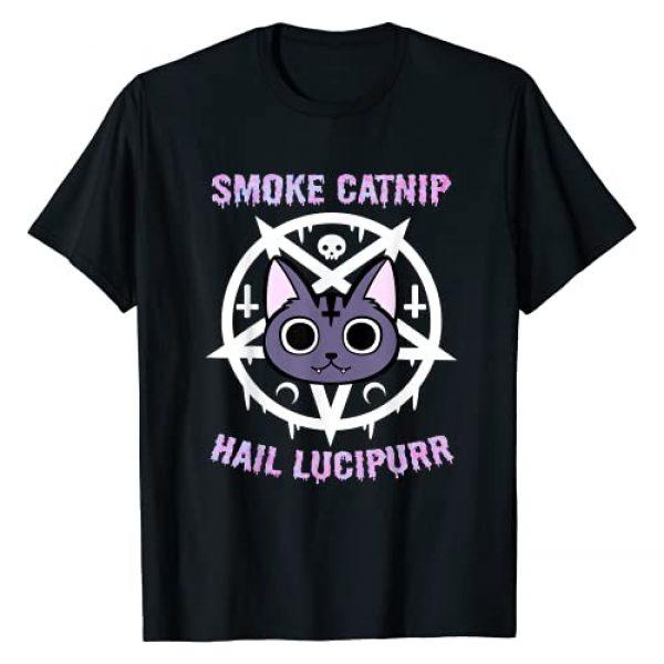 Hail Satan & Unicorn Hail Satan Designs Graphic Tshirt 1 Smoke Catnip Hail Lucipurr, Funny Satanic Cat KittyCorn Meme T-Shirt