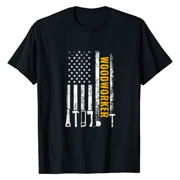 funny woodworking gifts Graphic Tshirt 1 American Flag Woodworker carpenter funny woodworking T-Shirt