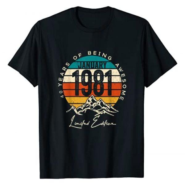 Vintage Janurary 1981 40th Birthday Shirt 40 Years Graphic Tshirt 1 Born January 1981 Birthday Gift Made in 1981 40 Years Old T-Shirt