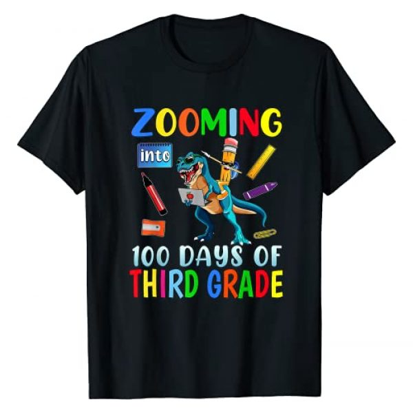 Happy 100th Day of School 2021 Teacher Student Tee Graphic Tshirt 1 Zooming Into 100 Days Of Third Grade Virtual School Boys Kid T-Shirt