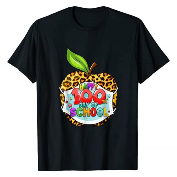 100th Day Of School Virtual Apple Leopard Mask Graphic Tshirt 1 Teachers T-Shirt