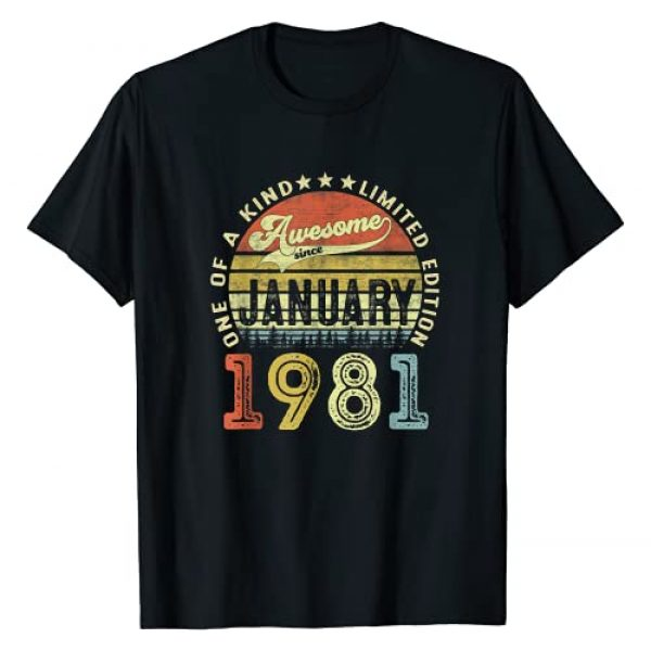 January 40 Years Old Birthday Gifts For Men Women Graphic Tshirt 1 40 Years Old Gifts Awesome Since January 1981 40th Birthday T-Shirt