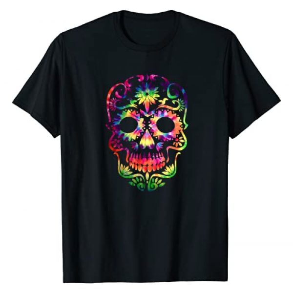 Vintage Day of The Dead Shirts & Stuff Graphic Tshirt 1 Tye Dye Day of the Dead Shirt Art 70's Style Sugar Skull T-Shirt