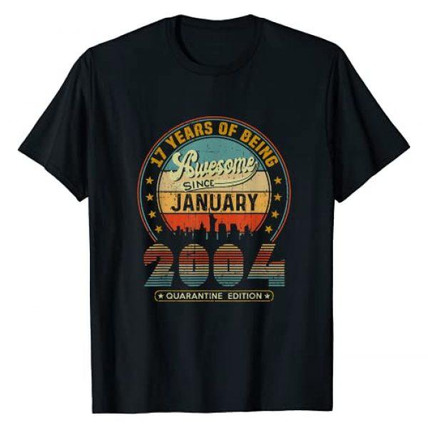 Quarantine Birthday January 2021 Gift Tees Graphic Tshirt 1 Vintage Born January 2004 17th Birthday 17 Years Old Gifts T-Shirt