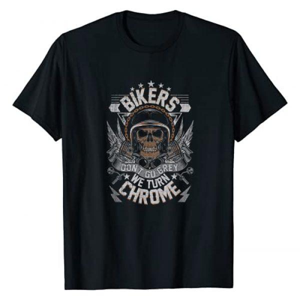 Motorcycle Biker Shirts Tee Kaboom! Graphic Tshirt 1 Bikers Don't Go Grey They Turn Chrome Mens Biker Motorcycle T-Shirt