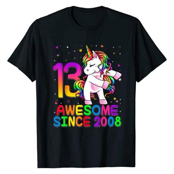 Flossing Unicorn Birthday 2021 Kids Shirts Graphic Tshirt 1 13 Years Old Unicorn Flossing 13th Birthday Girl Unicorn T-Shirt