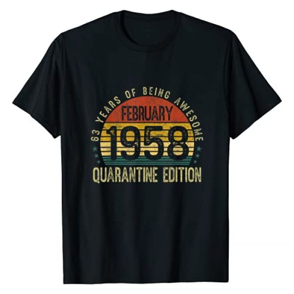 February 1958 Quarantine Edition 63rd B-Day Gifts Graphic Tshirt 1 February 1958 Quarantine Edition 63rd Birthday 63 Years Old T-Shirt