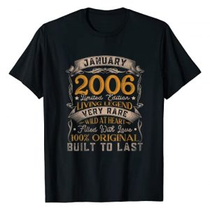 Born In January 2006 Gift 15th Birthday 15 Yrs Old Graphic Tshirt 1 Born In January 2006 Vintage 15th Birthday Gift 15 Years Old T-Shirt