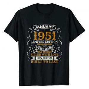 Legendary Vintage 1951 January 70th Birthday Gifts Graphic Tshirt 1 1951 January Vintage 70th Birthday Gift Legend T-Shirt